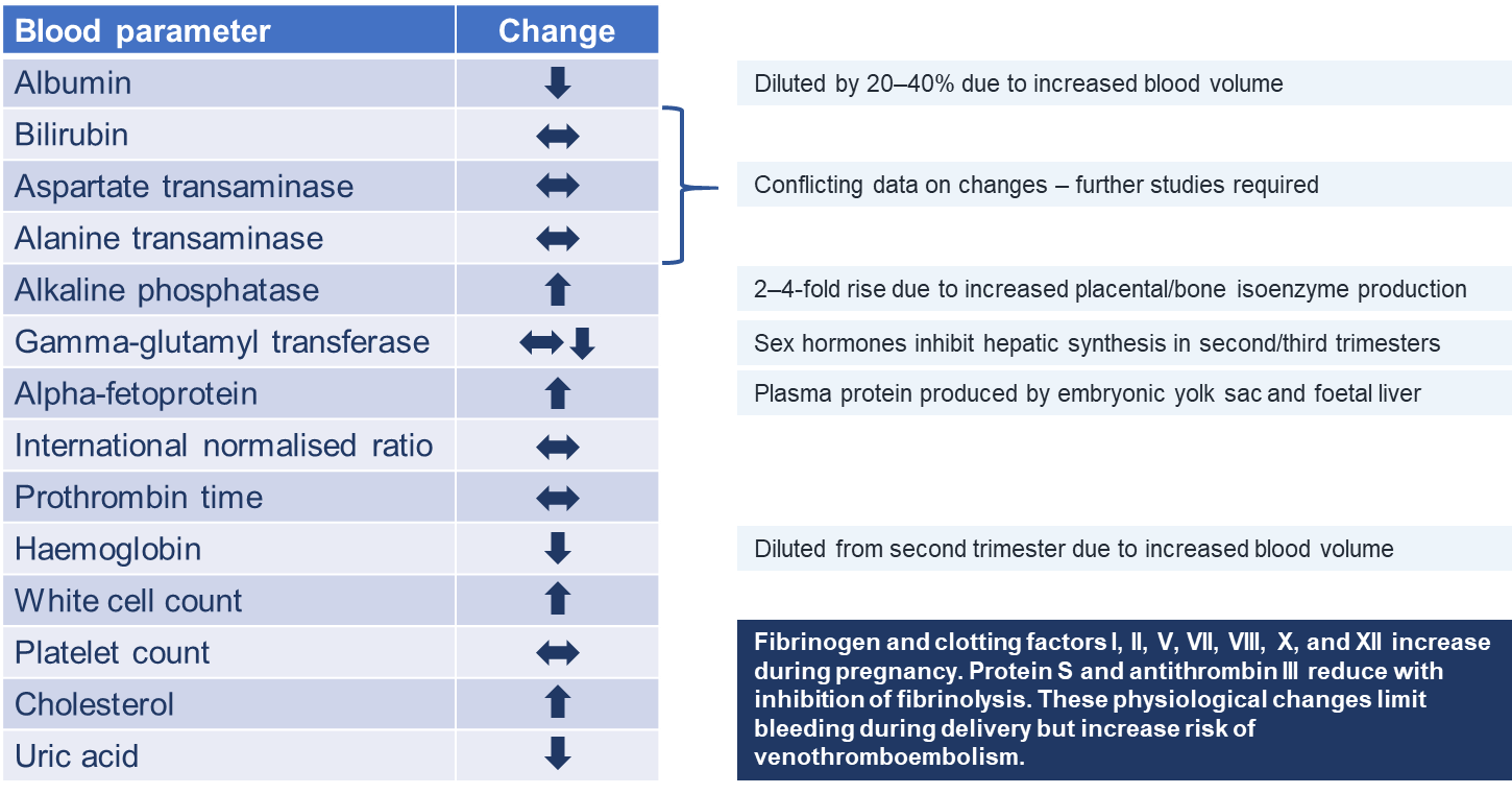 Figure 2: Normal Biochemical Changes During Pregnancy